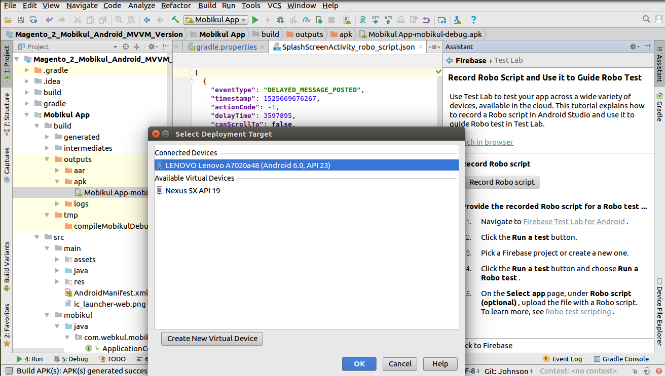 How to create Roboscript in Android Studio and Run in Firebase