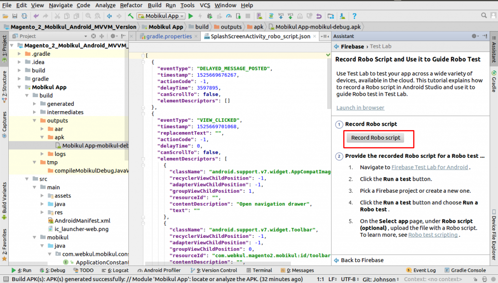 How to create Roboscript in Android Studio and Run in