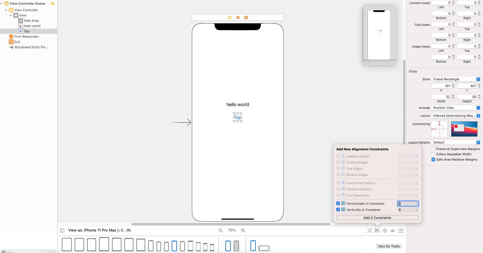 set button Auto layout constraints