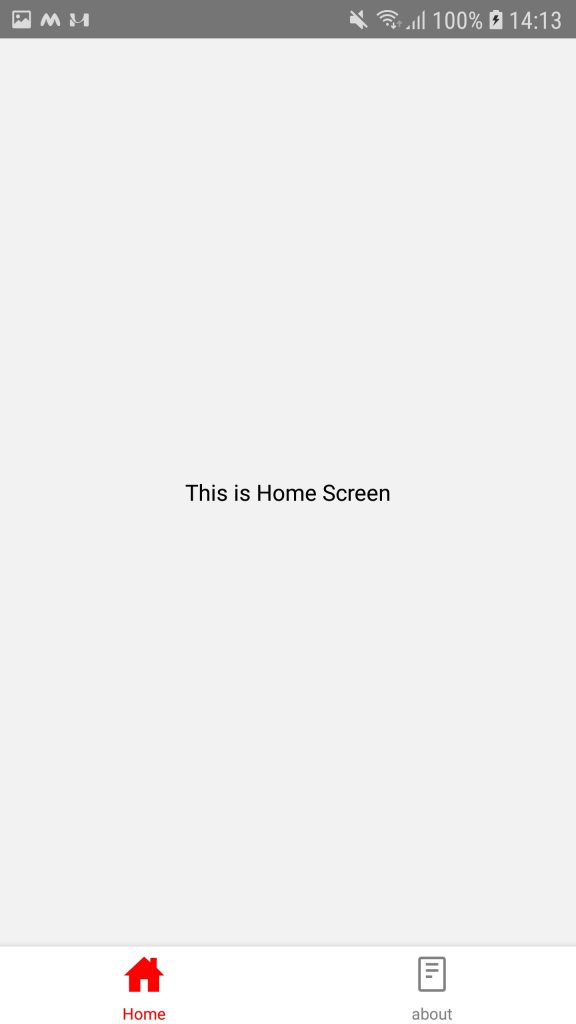 home screen with bottom tab