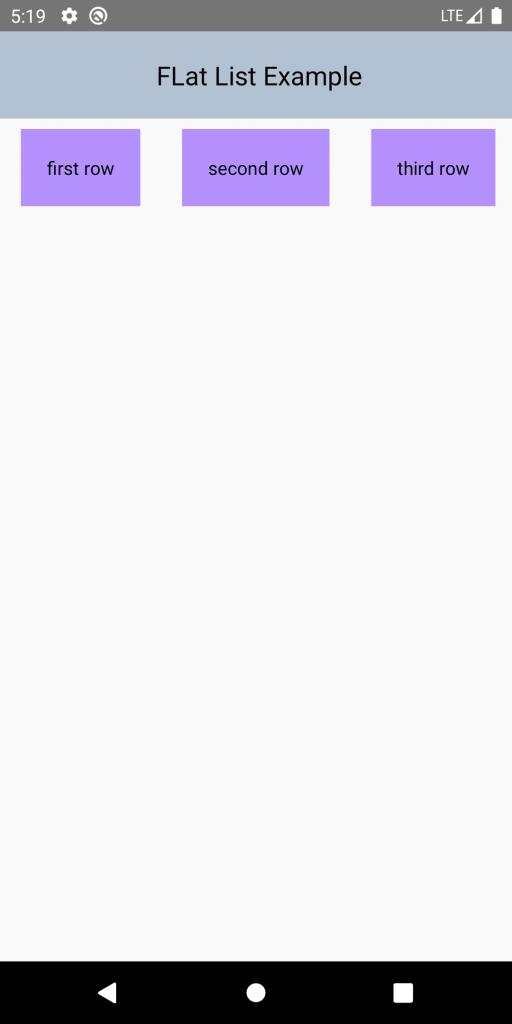 Flat list horizontal scrolling view.