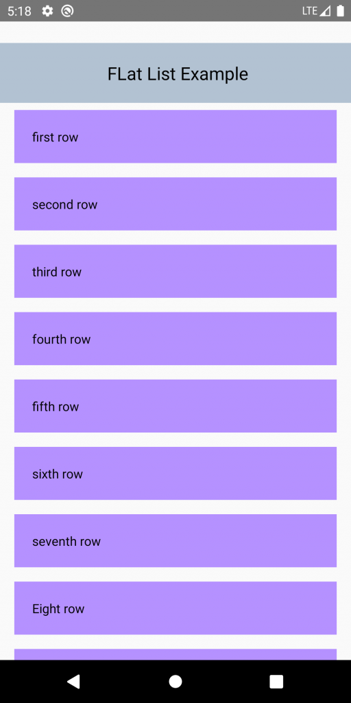 Flat list view vertical scrolling