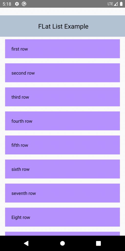 Flat list view vertical scrolling