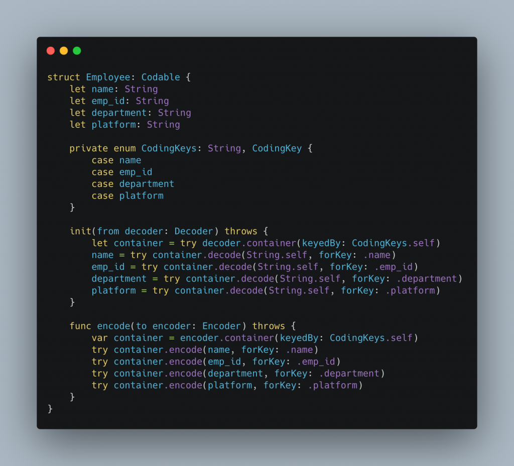 Codable Compiler Generated Example